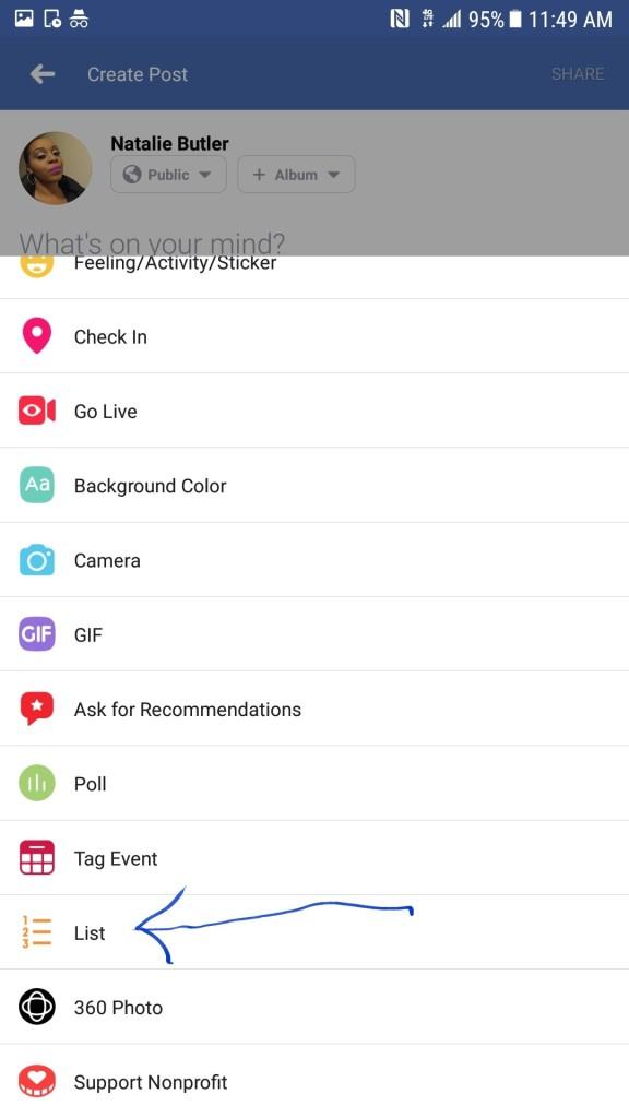 Facebook Status Update Options